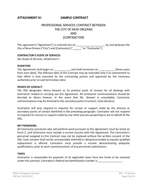 Contract For Professional Services Template by Rfp Information Technology Services 7101 01107