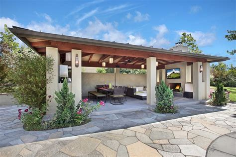 detached covered patio contemporary with outdoor fireplace