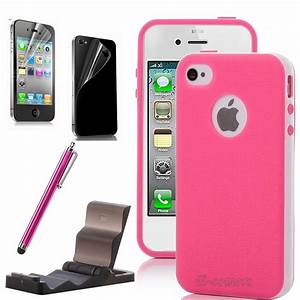 For Girls iPhone 4 4S Pink White 2-Piece Hybrid TPU Hard ...