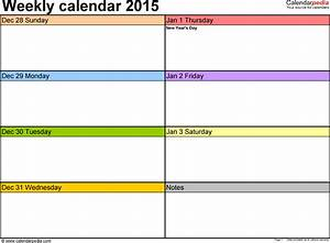 weekly calendar 2015 for excel 12 free printable templates With one week calendar template excel