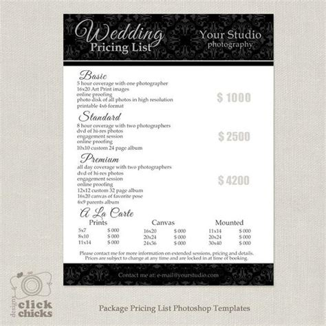 items similar  photography package pricing list template