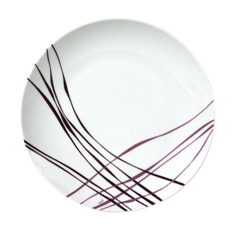 desserte cuisine blanche assiette à plate en porcelaine 27 cm lot de 6 liane