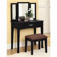 makeup vanity furniture Furniture of America Potterville Black Makeup Vanity at ...