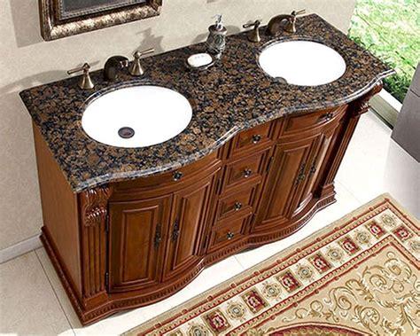 silkroad  double bathroom vanity brown granite top