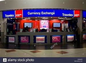 Bureau de Change office operated by Travelex, at Gatwick airport Stock Photo, Royalty Free Image