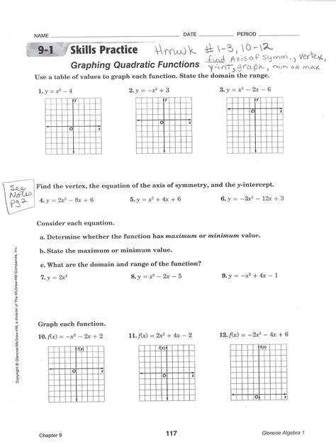 graphing quadratic equations worksheets