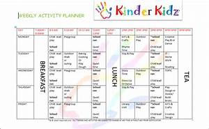 childminding weekly activity planner kinder kidz With weekly activity planner template