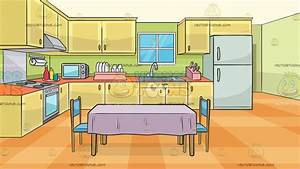 A Family Kitchen With A Dining Table And Two Chairs ...