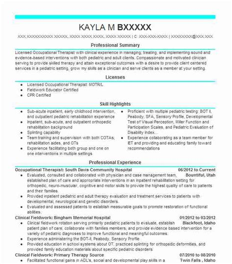 Pediatric Occupational Therapist Resume by Best Occupational Therapist Resume Exle Livecareer