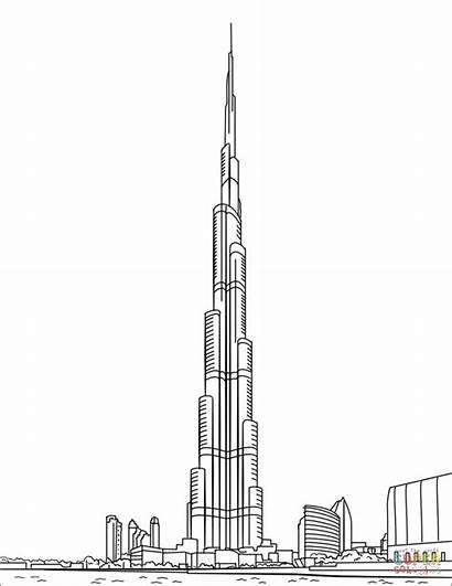 Khalifa Burj Dubai Coloring Building Drawing Sketch