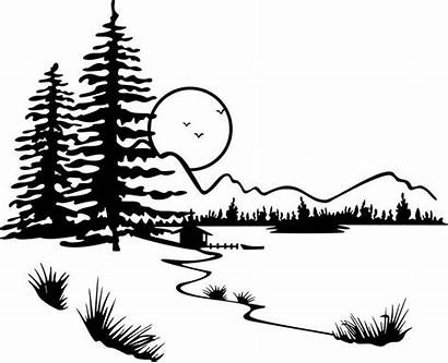 Clipart Silhouette Cabin Burning Wood Nature