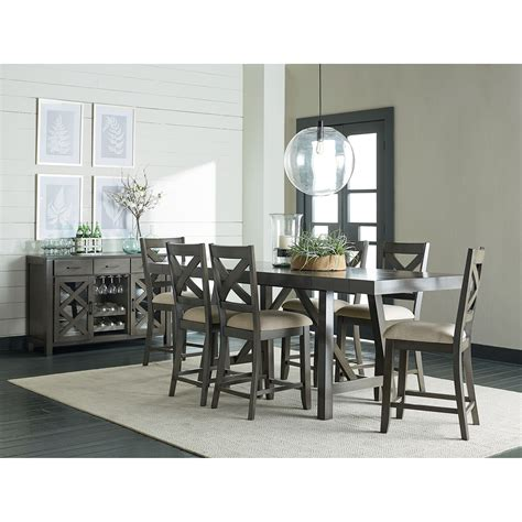 counter height dining room table  trestle base