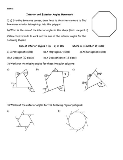 Interior And Exterior Angles Homework By Jhofmannmaths