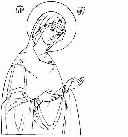 Coloring Pages Icons Mary Orthodox Na Virgin