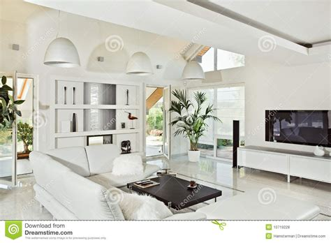 snow white living room modern interior royalty  stock