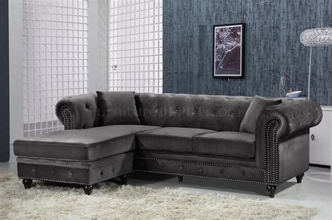 sabrina sectional sofa   grey velvet fabric  meridian