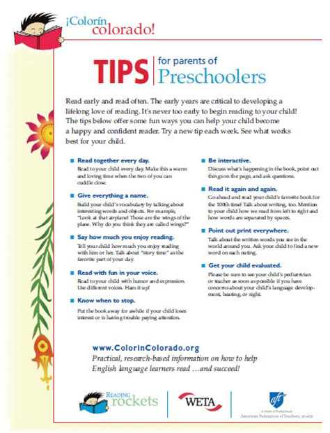 preschool resources for parents reading tips for parents of preschoolers color 237 n colorado 431