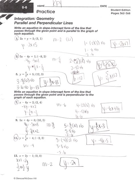 writing equations in slope intercept form worksheet