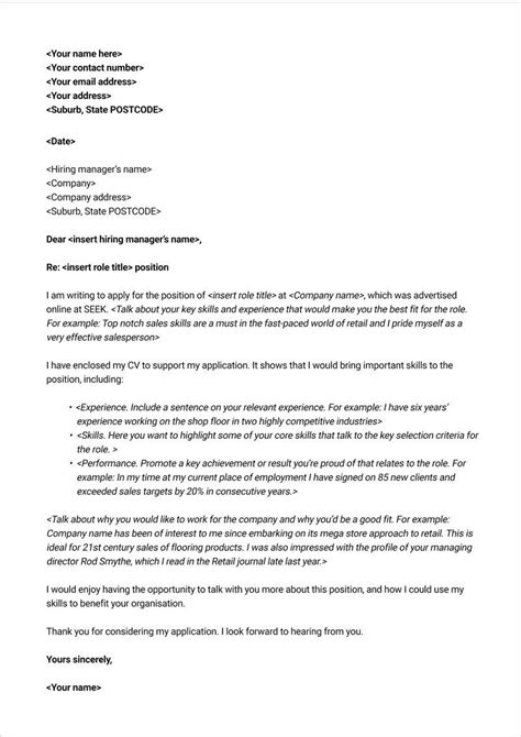 Free Cover Letter Exles by Free Cover Letter Template Seek Career Advice Resumes