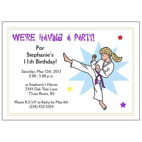 karate  martial arts girl birthday party invitation kick design mandys moon personalized gifts