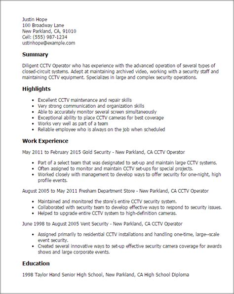 Reporter Description For Resume by 1 Cctv Operator Resume Templates Try Them Now