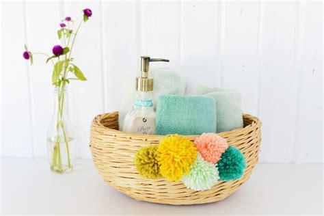 complete bathroom accessories diy yarn pom pom basket