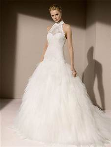 elegant ball gown high neck drop waist lace tulle layered With tulle drop waist wedding dress