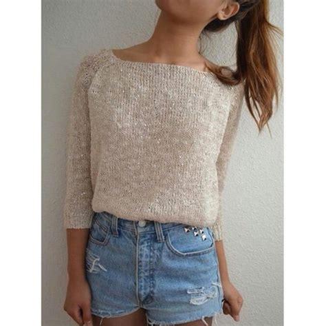 Shorts bejeweled high waisted shorts light wash shorts cute shorts sweater beige sweater ...