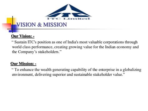 Vision & mission statements of selected fmcg organizations