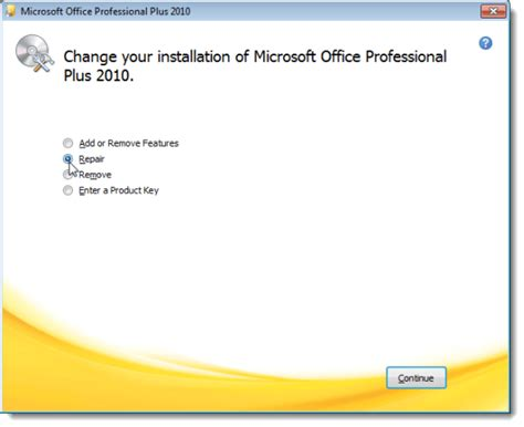 Office Repair by Reinstall Microsoft Office 2010
