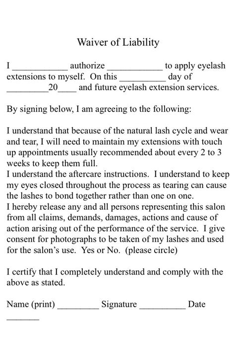 eyelash extension waiver form a simple eyelash extension consent form for your use