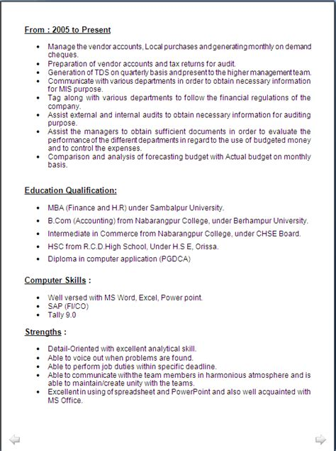 sample resume mba finance  hr   years experiance resume formats