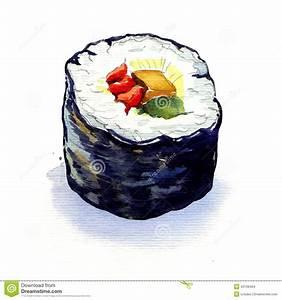 Traditional Japanese Sushi Rolls Isolated Stock ...
