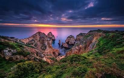 Portugal Lagos Algarve Coast Rocks Sea Wallpapers