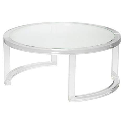 Interlude Ava Modern Round Clear Glass Acrylic Coffee Table