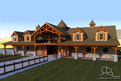 custom home horse barns  living quarters plans