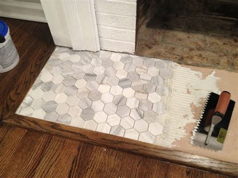 faux marble hexagon floor tile best 25 hearth tiles ideas on fireplace