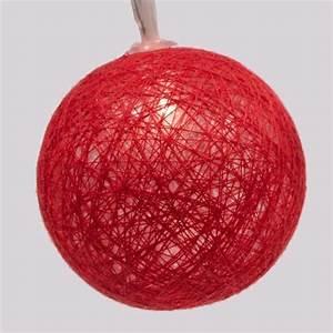 Guirlande Boule Coton : guirlande lumineuse boules de coton rouge blanc chaud decoration lumineuse eminza ~ Teatrodelosmanantiales.com Idées de Décoration