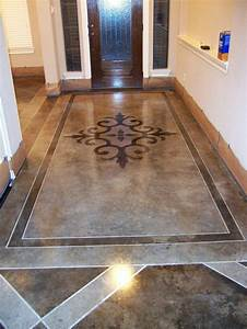 Stenciled and stained concrete floors gorgeous stenciled for Can i paint a concrete floor