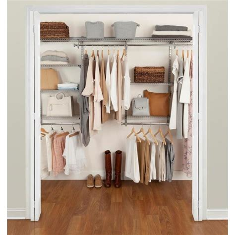 Lowes Rubbermaid Closet Kit by Rubbermaid Fasttrack 4 Ft To 8 Ft X 12 In Satin Nickel