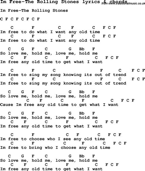 Hundreds of brand new song lyrics for musicians, arrangers and composers. Love Song Lyrics for:Im Free-The Rolling Stones with chords.