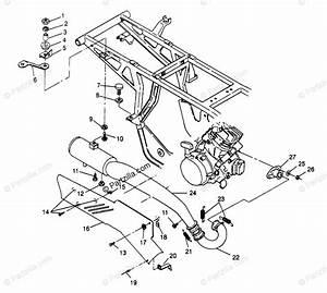 Polaris Atv 1995 Oem Parts Diagram For Exhaust System 4x4