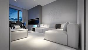 White And Grey Living Room – Modern House