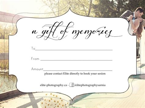 certificate templates with photos free photography gift certificate