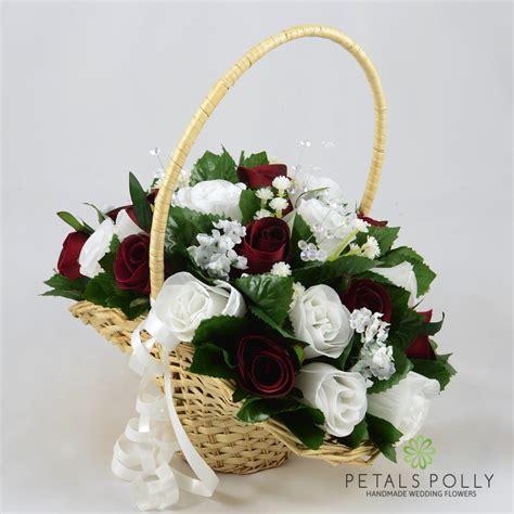 burgundy white rose flower girl basket