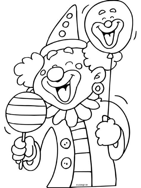 Kleurplaat Clown Met Ballonnen by Kleurplaat Vrolijke Clown Met Ballon Kleurplaten Nl