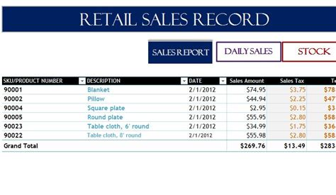 retail sales record  excel templates