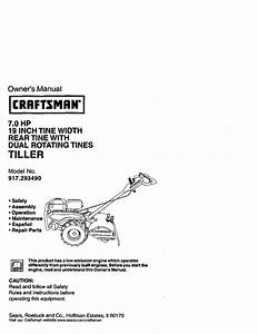 Craftsman 917293490 User Manual Rear Tine Tiller Manuals
