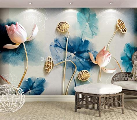 modest eatery picture of lotus style 3d wallpaper ink painting lotus wall mural