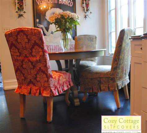 Dining Room Cozy Patterned Parsons Chair Slipcovers Decor